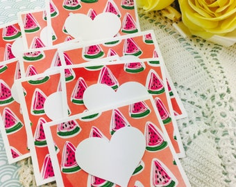 Mini Heart Cards Summer Watermelon Gold Collection Set of 9