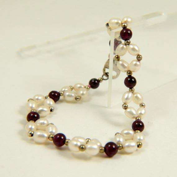 Vintage Fresh Water Pearl and Garnet Bracelet