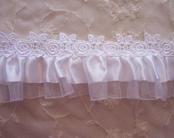 2.5 inch White Satin Organza Ruffle Ribbon Christening Bridal Trim Embellished W Rose Embroidered Lace