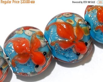 ON SALE 35% OFF Four Under The Sea Lentil Beads 11605912 - Handmade Grace Lampwork Bead Set