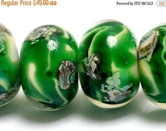 ON SALE 30% off NEW! Six Greener Treasures Rondelle Beads - Handmade Glass Lampwork Bead Set 10507921