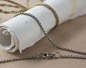 Thin Oxidized Silver Cable Chain, adjustable between 18, 19, and 20 inches