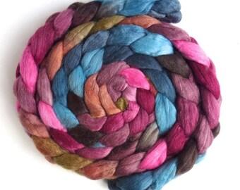 Nanna's Ribbons, Polwarth/Silk Roving - Handpainted Spinning or Felting Fiber