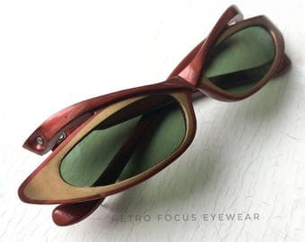 50's Extreme Space Age CatEye Eyewear Eyeglass Frames Fiery Red Copper Gold Plastic Narrow Cat Eye Sunglasses Glasses Small Petite Fit Adult