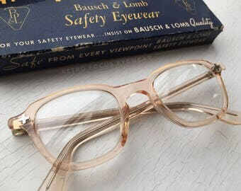 Military Issue NOS 60's B&L Hornrim Eyeglasses Peach Nude Flesh Eyewear Frames Ginger Blonde Bausch Lomb Safety Glasses Eyeglass Frames USA