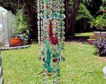 Aqua Hummingbirds Crystal Wind Chime, Antique Crystal Wind Chime, Garden Art, Garden Decoration, Crystal Art, Hummingbirds Sun Catcher