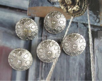 5 Retro Vintage Style Silver Faux Rhinestones Floral Flower Shirt Wedding Jacket Coat Sweater Metal Button 0.8 Inches / 2 cm