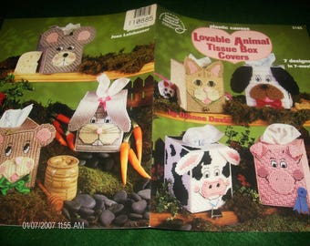 Tissue Box Plastic Canvas Patterns Lovable Animal Tissue Box Covers American School of Needlework 3185 Davis