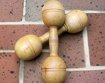 2 Antique Vintage Wooden Dumbbells 1 lb Dumbbells