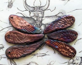 Angels On High Raku Collection of Six Blue Copper Green Rust Teal  Wings