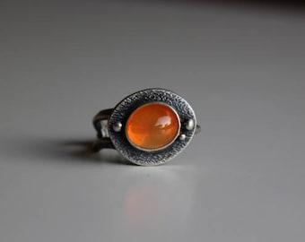 Kumquat Twiggie........... sterling silver, Mexican opal, twig ring size 7.75