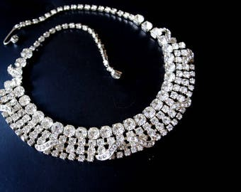 Bridal vintage 50s , clear rhinestones,wide, collar, choker, adjustable, art deco style necklace.