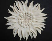 Sunflower Wall Sculpture - Textured Nature Inspired White Clay Flower Circle Modern Minimalist Wall Hanging