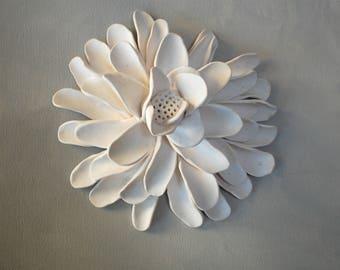 Flower Wall Sculpture - Textured Garden Inspired White Clay Flower Circle Modern Minimalist Wall Hanging