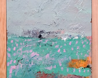 Mint Green Abstract Landscape, Original oil painting on wood with beveled edge