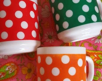 White Glass Mugs, Milk Glass Mugs, Polka Dot Mugs, 70s Mugs, French Mugs, Spotty Mugs, French Kitchenalia, French Kitchen, Coffee & Tea Mugs