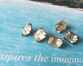 Vintage buttons 5 matching emerald cut style, metal small 3/8 inch rhinestone solitaire style, 1950's  (june 43 17)
