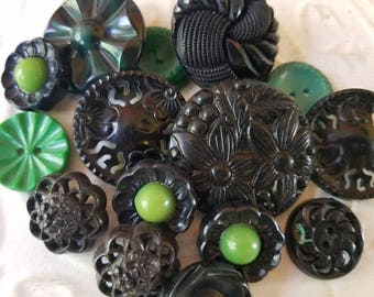 Vintage Buttons - Cottage chic fancy pierced mix of green, and black lot of 15 old and sweet( July415 17)