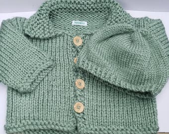 Green Heather Green Baby Cardigan and Hat Set, Gift for Baby, FREE SHIPPING by hipknitta