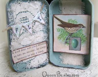Altered Altoid Tin Assemblage Collage Altered Art Tin Vintage Bird Original Bird Art Vintage Style Vintage Mixed Media Found Object Art