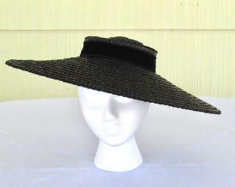 1940's vintage black wide brim straw hat with black velvet bow hat band