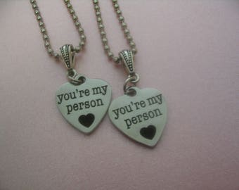 Two Youre My Person Necklace Set Jewelry Gift Friends or Sisters