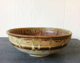 handmade studio pottery bowl - drip glaze ceramic dish - ochre brown