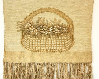 vintage wall weaving - large woven fiber art sculpture - Don Freedman style - beige white taupe neutral