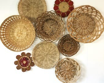 woven wicker wall baskets - basket wall collection - boho rattan bamboo wall decor - Set of 9
