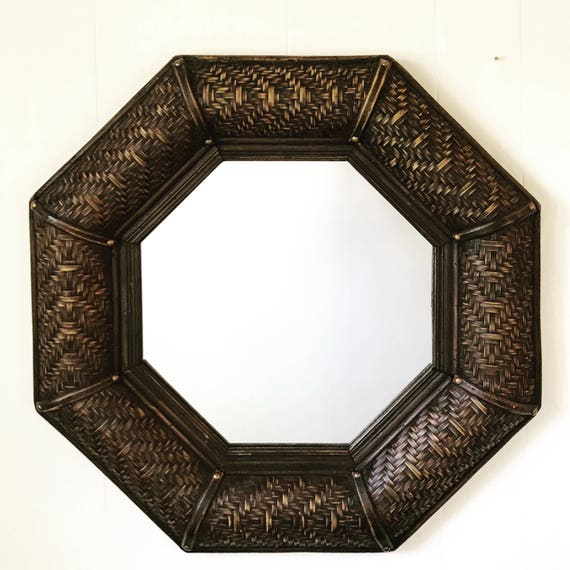 large rattan wall mirror - octagon woven bamboo - dark chocolate brown