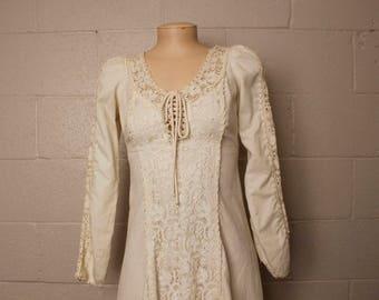 Vintage 1970's Black Label Jessica Gunne Sax Prairie Dress Cotton 9 XS