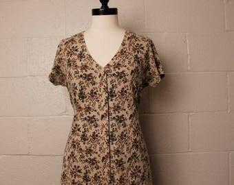 Vintage 1990's City Lights Tan Floral Cotton Maxi Dress M