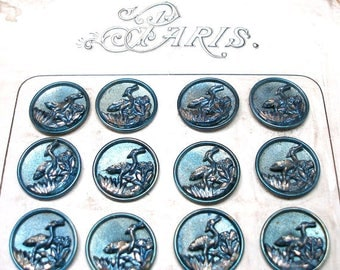 French BUTTON Card, 24 Victorian Birds with blue tint, unused on original card. Crane, heron. Made in France.