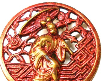 """1800s Geisha BUTTON, Victorian storybook pierced brass with red tinting. 1""""."""