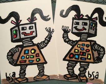 Hand illustrated robot girl notecards set of two