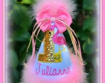FLAMINGO Birthday Hat, Flamingo 1st Birthday Hat, Flamingo Pineapple Birthday Hat, 1st Birthday Hat, First Birthday Hat, by GINGHAM BUNNY
