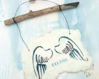 Believe, Handmade Porcelain Wall Hanging