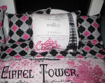 "4 Piece Reversible Paris American girl Inspired  Bunk bed set 1 Bedspreads  3 Pillows 18"" doll Cotton Batting on the Inside"