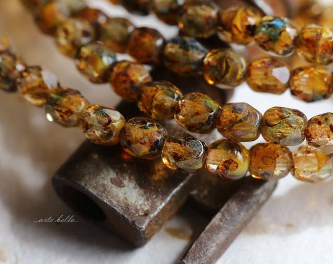 AMBER TOTS .. 50 Premium Picasso Faceted Czech Glass Beads 4mm (5807-st)