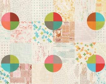 "MODA Modern BG Background Colorbox Geometric Cheater Panel Multi Porcelain 1640 22 - 23"" panel  Yardage by Brigitte Heitland of Zen Chic"