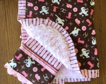 New...Pink and Brown Cowgirl Minky Blanket and Burp Cloth Set...CAN BE PERSONALIZED