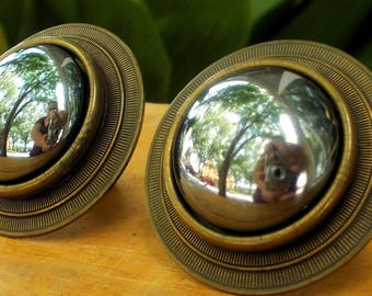 Vintage Margorie Bayer SF Sculptural Brass Earrings / Bronze Minimalist Artist Signed