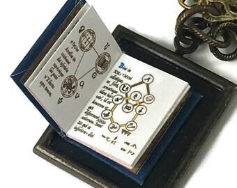 Magic Spell Book Hidden Book Necklace Tiny Readable Book