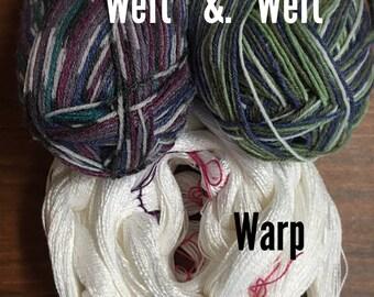 Double Take White Scarf Weaving Kit-Two scarves one warp-Handmade-Handwoven-Rigid heddle loom- Floor loom-Table loom-weaving