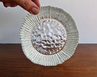 Kitchen Chemistry, Pair of Hand Blown Pilgrim Glass Bowls, Vintage Textured Glass Bowls w/ Lunar Rock-Base