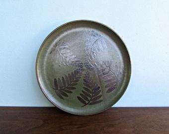 "Green & Brown Stoneware Botanical Dinner Plate by Studio Artist known as ""Duke"" #5166"