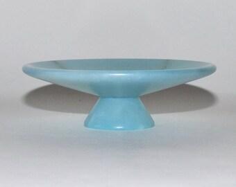 Vintage Genuine Italian Baby Blue Alabaster Pedestal Dish