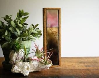 Vintage Enamel on Copper Panel Framed Wall Hanging Brutalist Metal Art Plaque MCM Decor Pink and Brown Enameled Metal