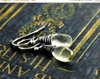 Scapolite Earrings, Drop Earrings, Wire Wrapped, Dangle Earrings, Gemstone Earrings, Gemstone Jewelry, Champagne, Sterling Silver, PoleStar
