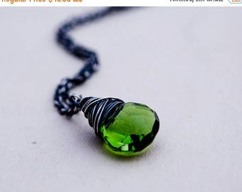 Gemstone Pendant, Crystal Necklace, Wire Wrapped, Gemstone Necklace, Crystal Pendant, Olive Green, Hydroquartz, Sterling Silver, PoleStar